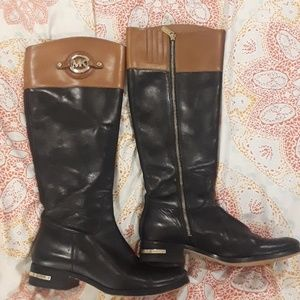 Michael kors riding boots black and cognac